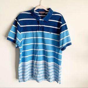 Vineyard Vines Blue Striped Short Sleeve Polo L